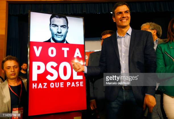 Spain's Prime Minister Pedro Sanchez and Socialist Party candidate for the Spain's general election reacts as he opens the election campaign on April...