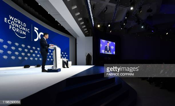 Spain's Prime Minister Pedro Sanchez delivers a speech at the World Economic Forum in Davos Switzerland on January 22 2020