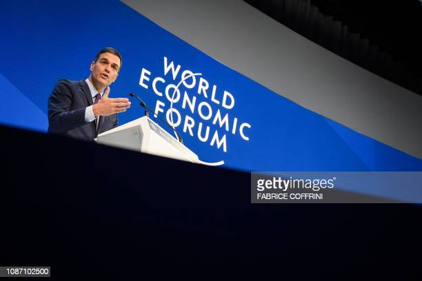 Spain's Prime Minister Pedro Sanchez delivers a speech during the World Economic Forum annual meeting on January 23 2019 in Davos eastern Switzerland