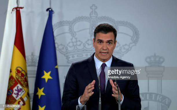 Spain's Prime Minister Pedro Sanchez holds a press conference in Palace of Moncloa, N Madrid, Spain on June 6, 2019.