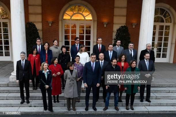 Spain's Prime Minister Pedro Sanchez poses with Spain's Deputy Prime Minister of Economic Affairs Nadia Calvino Spain's Deputy Prime Minister and...