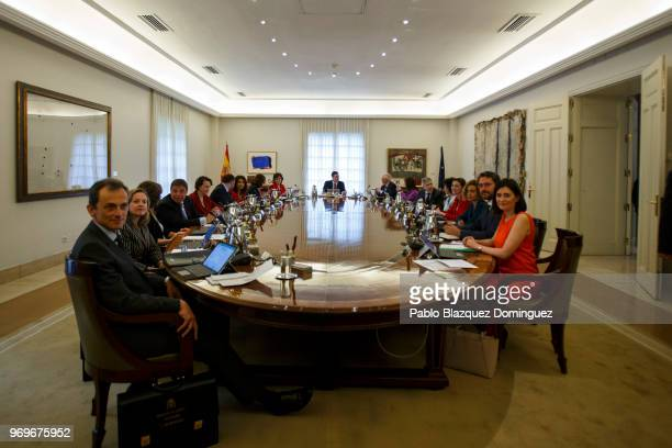 Spain's Prime Minister Pedro Sanchez presides his first cabinet meeting at the Moncloa Palace on June 8 2018 in Madrid Spain Spain's new government...
