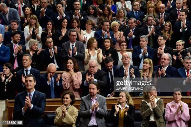 Spain's Prime Minister Pedro Sanchez Spain's Deputy Prime Minister and Minister of Presidency and Relations with Parliament Carmen Calvo Spain's...