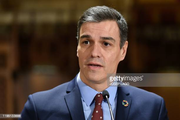Spain's Prime Minister Pedro Sanchez talks to the press after meeting with Mayor of Barcelona Ada Colau in Barcelona on February 07 2020 Spanish...