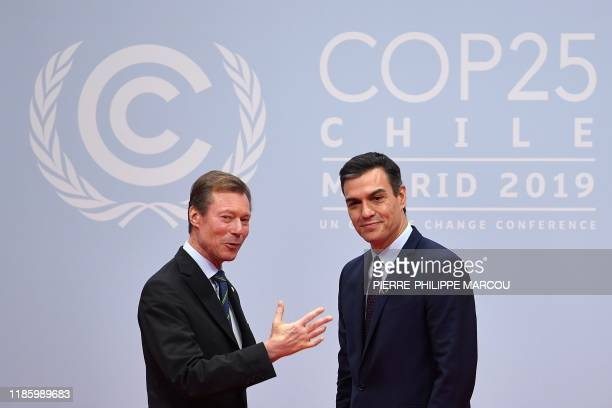 Spain's Prime Minister Pedro Sanchez welcomes Henri Grand Duke of Luxembourg at the UN Climate Change Conference COP25 at the 'IFEMA Feria de Madrid'...