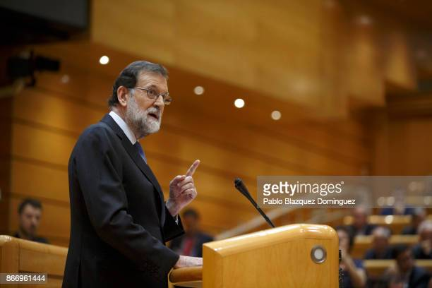 Spain's Prime Minsiter Mariano Rajoy speaks during a plenary session to approve article 155 of the Spanish Constitution at the Spanish Senate on...