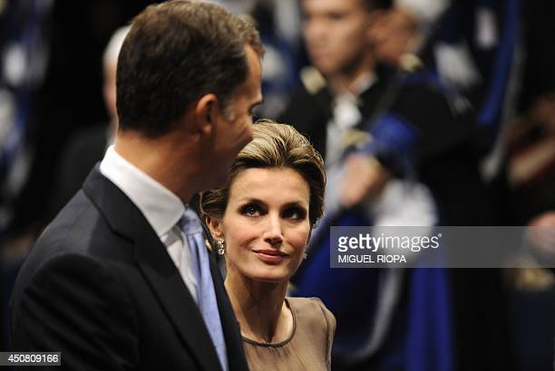 Spain's Prince Felipe and Princess Letizia arrive to the Campoamor Theater prior to the 2011 Prince of Asturias awards ceremony on October 21 2011 in...