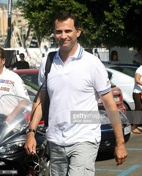 Spain's Prince Felipe arrives at the Palma yacht club to take part in the second day of racing in the Copa del Rey regatta off the coast of Palma de...