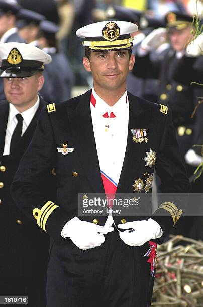 Spain''s Prince Felipe attends the wedding of Norwegian Crown Prince Hakon of Norway and MetteMarit Tjessem Hoiby August 25 2001 in Oslo Cathedral...