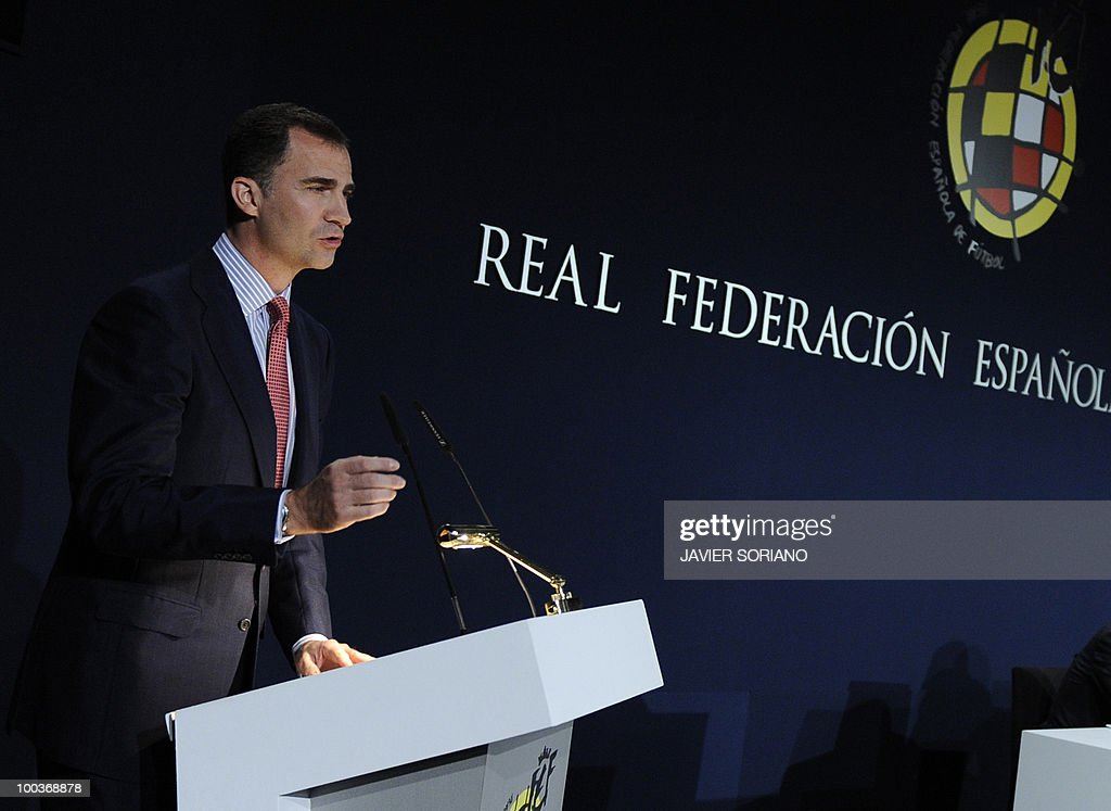 Spain's Prince Felipe (L) gives a speech during the inauguration of the Spanish Football Federation (RFEF) museum on May 24, 2010, at the Sports City of Las Rozas, near Madrid. Spain, among the favourites for the World Cup, which runs from June 11-July 11, face Switzerland, Honduras and Chile in Group H of the opening round.