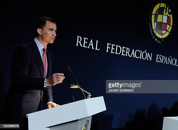 Spain's Prince Felipe gives a speech during the inauguration of the Spanish Football Federation museum on May 24 at the Sports City of Las Rozas near...