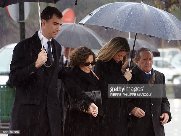 Spain's Prince Felipe Paloma Rocasolano Princess Letizia and Francisco Rocasolano arrive for the funeral of Erika Ortiz at the cemetery at Tres...