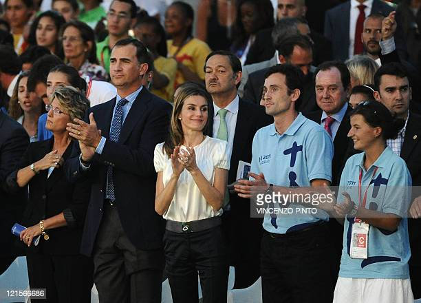 Spain's Prince of Asturias Felipe and his wife Letizia attend a Prayer Vigil led by Pope Benedict XVI at the Cuatro Vientos air base in Madrid on...