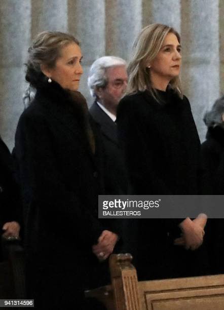 Spain's princess Elena and her sister Cristina de Bourbon attend a memorial mass marking the 25th anniversary of the death of their grand father Juan...