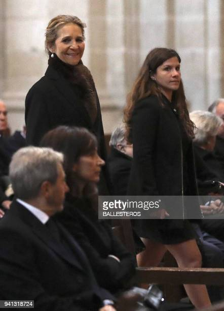 Spain's princess Elena de Bourbon smiles as she attends a memorial mass marking the 25th anniversary of the death of her grand father Juan de Bourbon...