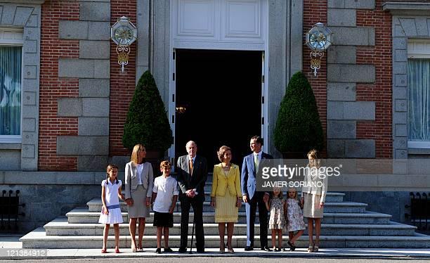 Spain's Princess Elenam her daughter Victoria Federica and son Felipe Juan Froilan Spain's King Juan Carlos Spain's Queen Sofia Spain's Prince of...