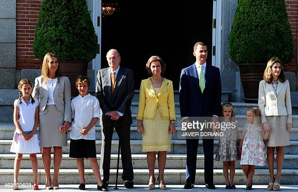 Spain's Princess Elenam her daughter Victoria Federica and son Felipe Juan Froilan Spain's King Juan Carlos Spain's Queen Sofia Spain's Prince of...