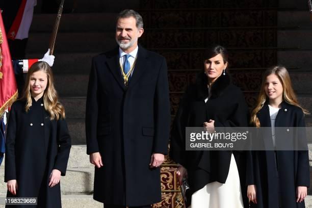 Spain's Princess Leonor, Spain's King Felipe VI, Queen Letizia and Princess Sofia arrive for the opening ceremony of the Spanish 14th legislature at...