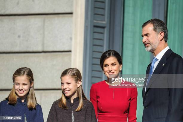 Spain's Princess Leonor Spain's Princess Sofia Spain's Queen Letizia and Spain's King Felipe VI arrive to attends a celebration marking 40 years of...