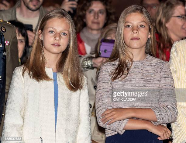 Spain's Princess Sofia and Princess Leonor attend the traditional Easter Mass of Resurrection in Palma de Mallorca on April 21 2019