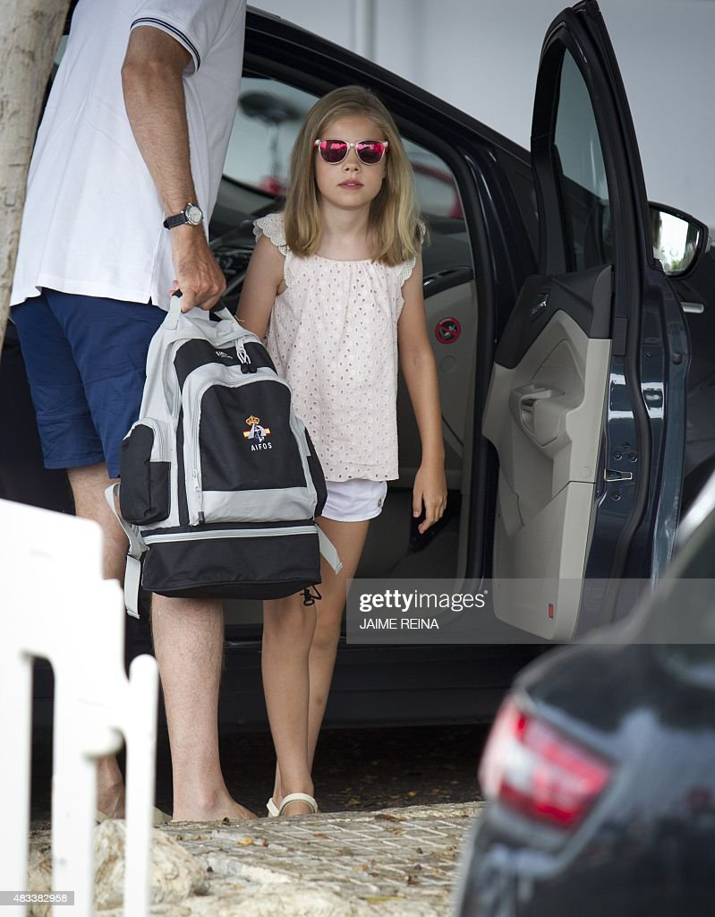 Spain's Princess Sofia arrives at the Royal Sailing Club before the start of the last day comptetition of Copa del Rey (King's Cup) regatta, in Palma de Mallorca on August 8, 2015. The Royal Family spend their traditional summer holidays at the Marivent Palace on the island of Palma de Mallorca