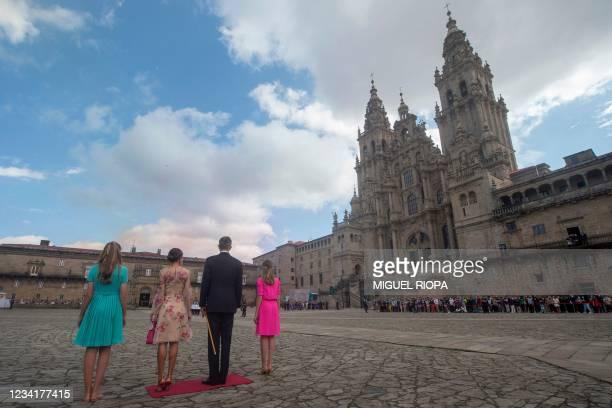 Spain's Princess Sofia, Queen Letizia, King Felipe VI and Crown Princess Leonor arrive to the Cathedral of Santiago de Compostela at Obradoiro Square...