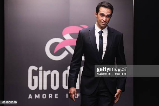 Spain's pro cyclist Alberto Contador attends the presentation of the 2018 Tour of Italy cycling race on November 29 2017 in Milan / AFP PHOTO / MARCO...