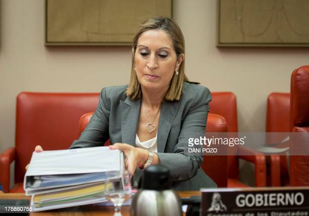 Spain's Public Works minister Ana Pastor arrives at a parliamentary commission to deliver a speech about Spain's railway network in Madrid on August...