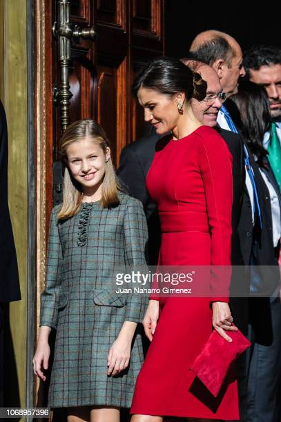 Spain's Queen Letizia and Spain's Princess Leonor attend a celebration marking 40 years of democracy in Spain at the Spanish Congress on December 6...