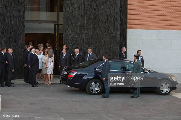 Spain's Queen Letizia arrived for the inauguration of an exhibition entitled 'El Greco y la pintura moderna' at the National Padro museum in Madrid...