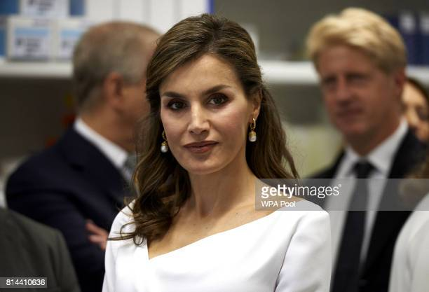 Spain's Queen Letizia gestures during the visit to the Francis Crick Institute during a State visit by the King and Queen of Spain on July 14 2017 in...