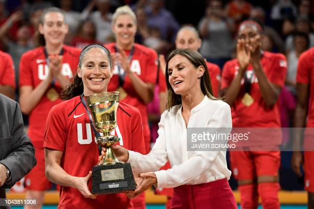 Spain's queen Letizia gives the world cup trophy to US' center Breanna Stewart after winning the FIBA 2018 Women's Basketball World Cup final match...