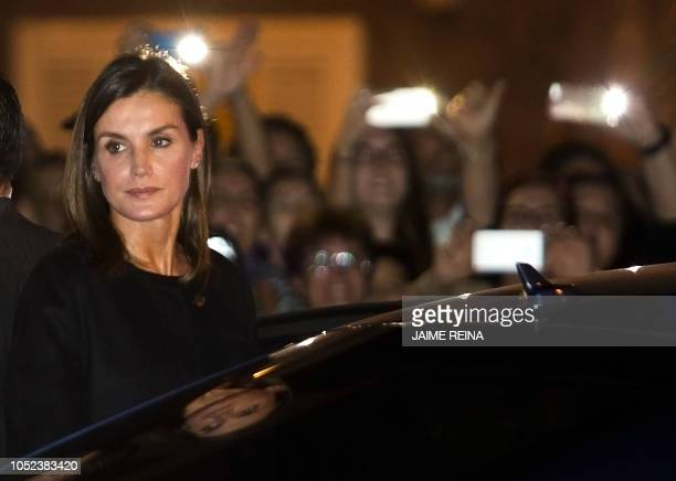 Spain´s Queen Letizia leaves after a funeral ceremony for the 13 victims of the floods that hit Spain's holiday island of Majorca on October 17, 2018...