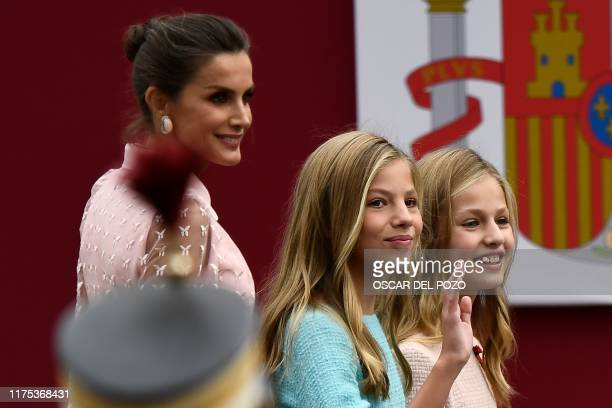 Spain´s Queen Letizia, princess Sofia and princess Leonor arrive to attend the Spanish National Day military parade in Madrid on October 12, 2019.