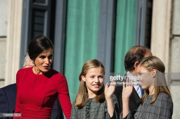 Spain's Queen Letizia Spain's Princess Leonor and Spain's Princess Sofia attend a celebration marking 40 years of democracy in Spain at the Spanish...