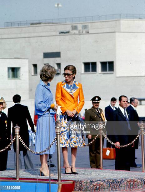 Spain's Queen Sofia and Empress Farah Diba of Iran at the airport Teheran Iran