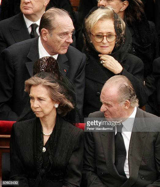 Spain's Queen Sofia King Juan Carlos French President Jacques Chirac his wife Bernadette attend Pope John Paul II's funeral mass on April 8 2005 in...