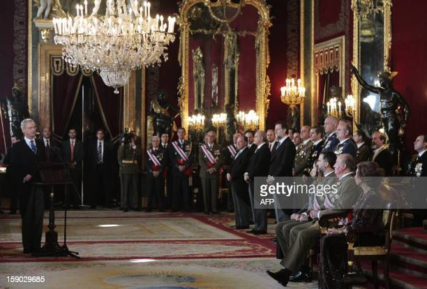 Spain's Queen Sofia Spain's King Juan Carlos Spain's Prince Felipe and Princess Letizia listen to Spanish Defence Minister Pedro Morenes as he...