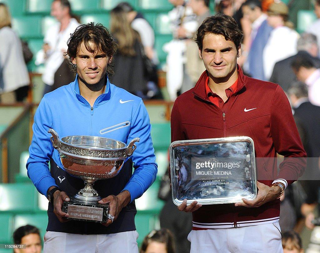 Spain's Rafael Nadal (L) and Switzerland : News Photo