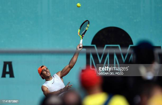 Spain's Rafael Nadal attends a training session during the ATP Madrid Open at the Caja Magica in Madrid on May 7 2019