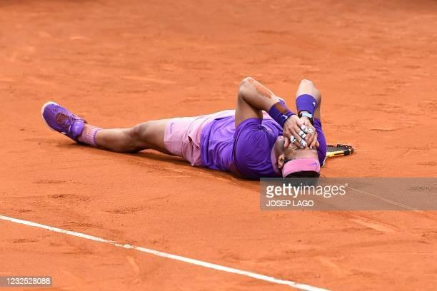 Spain's Rafael Nadal celebates after winning the ATP Barcelona Open tennis tournament singles final match against Greece's Stefanos Tsitsipas at the...