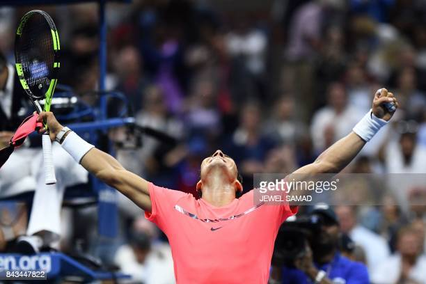 Spain's Rafael Nadal celebrates after defeating Russia's Andrey Rublev during their 2017 US Open Men's Singles Quarterfinal match at the USTA Billie...