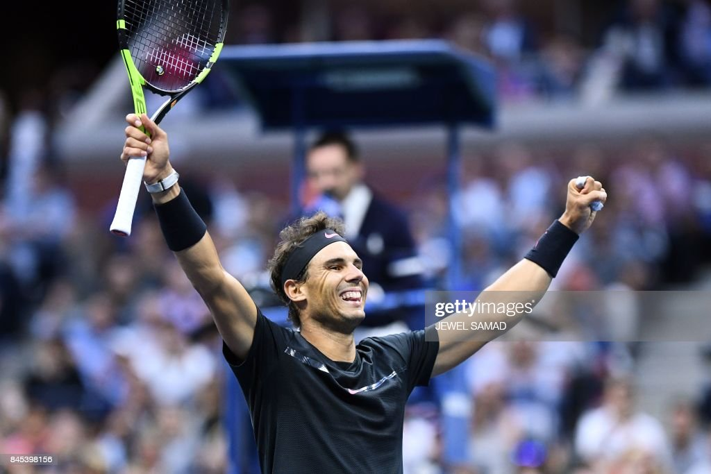 Spain's Rafael Nadal celebrates after defeating South Africa's Kevin Anderson during their 2017 US Open Men's Singles final match at the USTA Billie Jean King National Tennis Center in New York on September 10, 2017. / AFP PHOTO / Jewel SAMAD