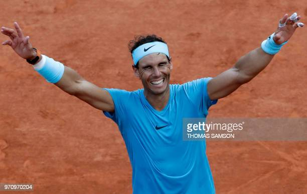 Spain's Rafael Nadal celebrates after victory over Austria's Dominic Thiem after their men's singles final match on day fifteen of The Roland Garros...