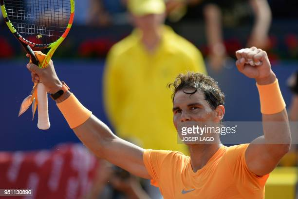 Spain's Rafael Nadal celebrates after winning a Barcelona Open ATP tournament tennis match against Spain's Roberto Carballes Baena in Barcelona on...