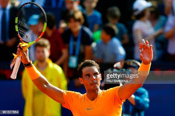 Spain's Rafael Nadal celebrates after winning against Spain's Guillermo Garcia-Lopez during their Barcelona Open ATP tournament tennis match in...