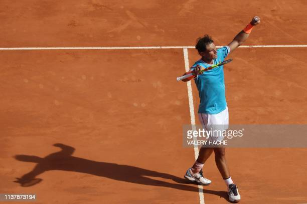 Spain's Rafael Nadal celebrates after winning Bulgaria's Grigor Dimitrov during their tennis match on the day 6 of the Monte-Carlo ATP Masters Series...
