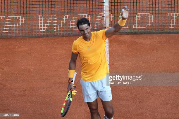 Spain's Rafael Nadal celebrates after winning his men's single tennis match against Russia's Karen Khachanov at the MonteCarlo ATP Masters Series...