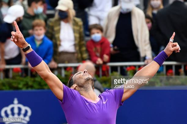 Spain's Rafael Nadal celebrates after winning the ATP Barcelona Open tennis tournament singles final match against Greece's Stefanos Tsitsipas at the...