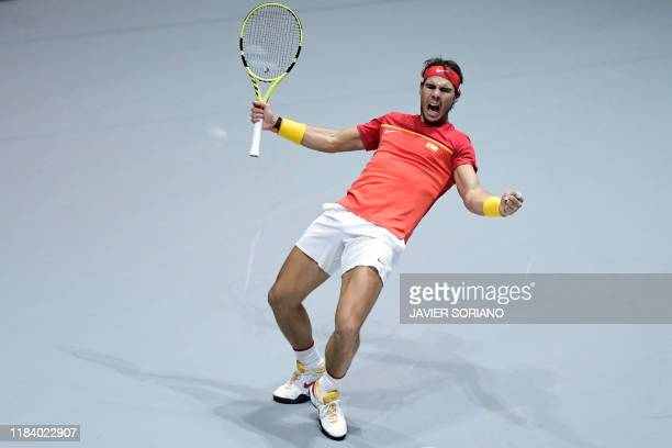 Spain's Rafael Nadal celebrates after winning the doubles quarter-final tennis match against Argentina's Leonardo Mayer and Argentina's Maximo...